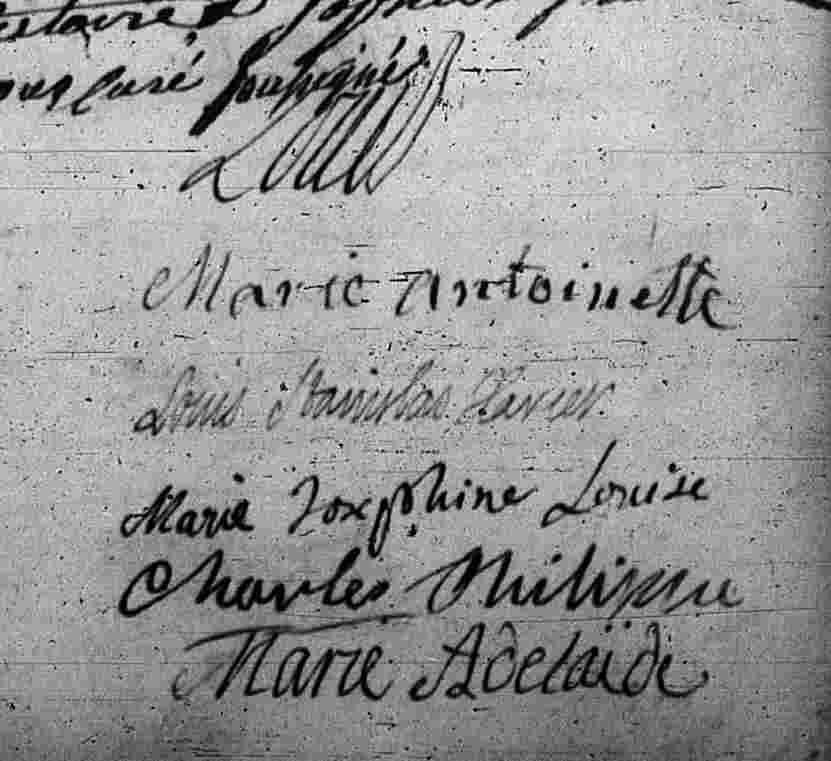 Acte d'ondoiement du duc de Berry, père du comte de Chambord : les signatures