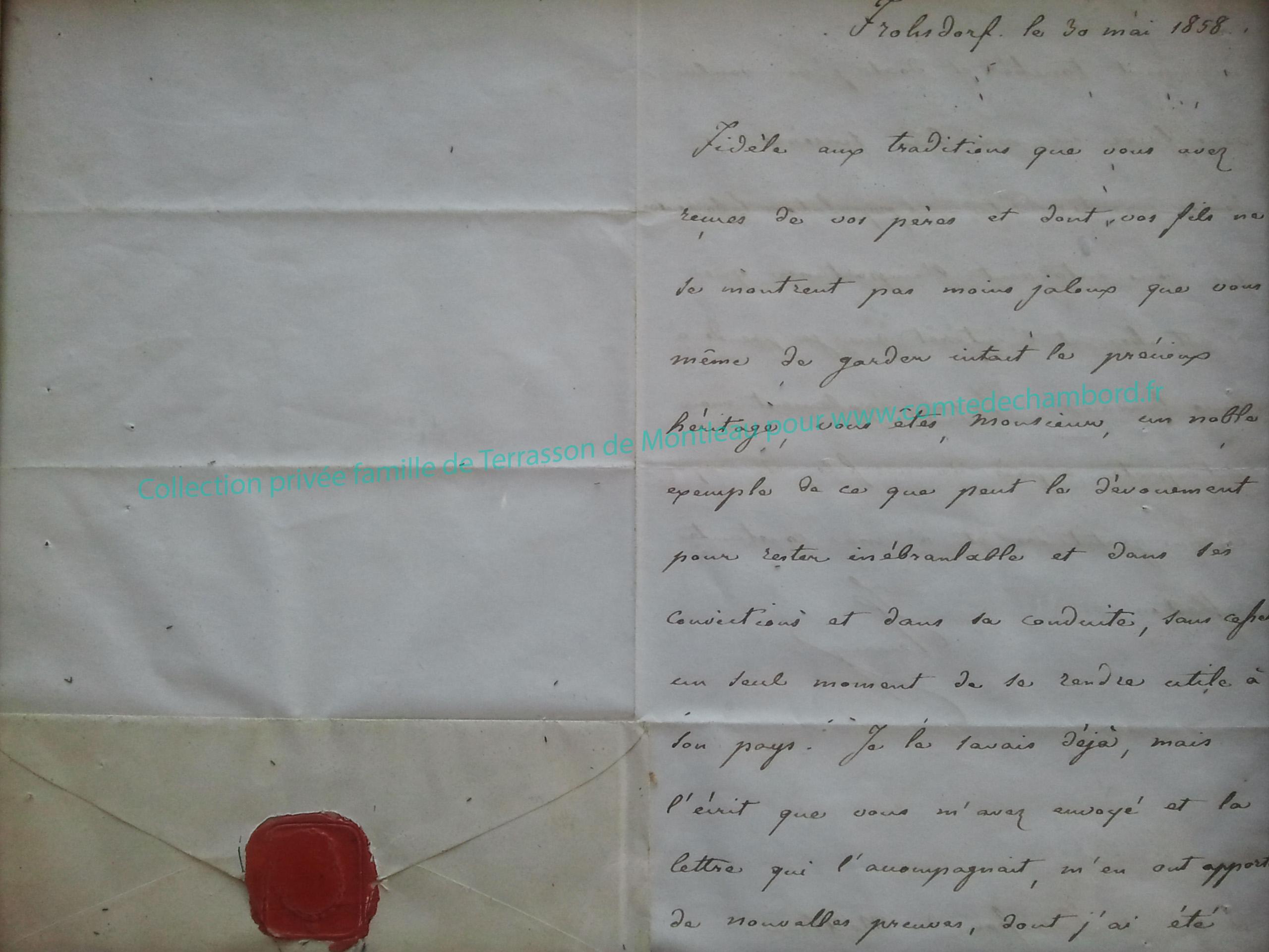 Lettre de 1858, partie 1