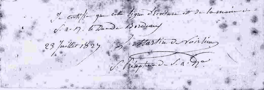 Certificatdu comte de Chambord