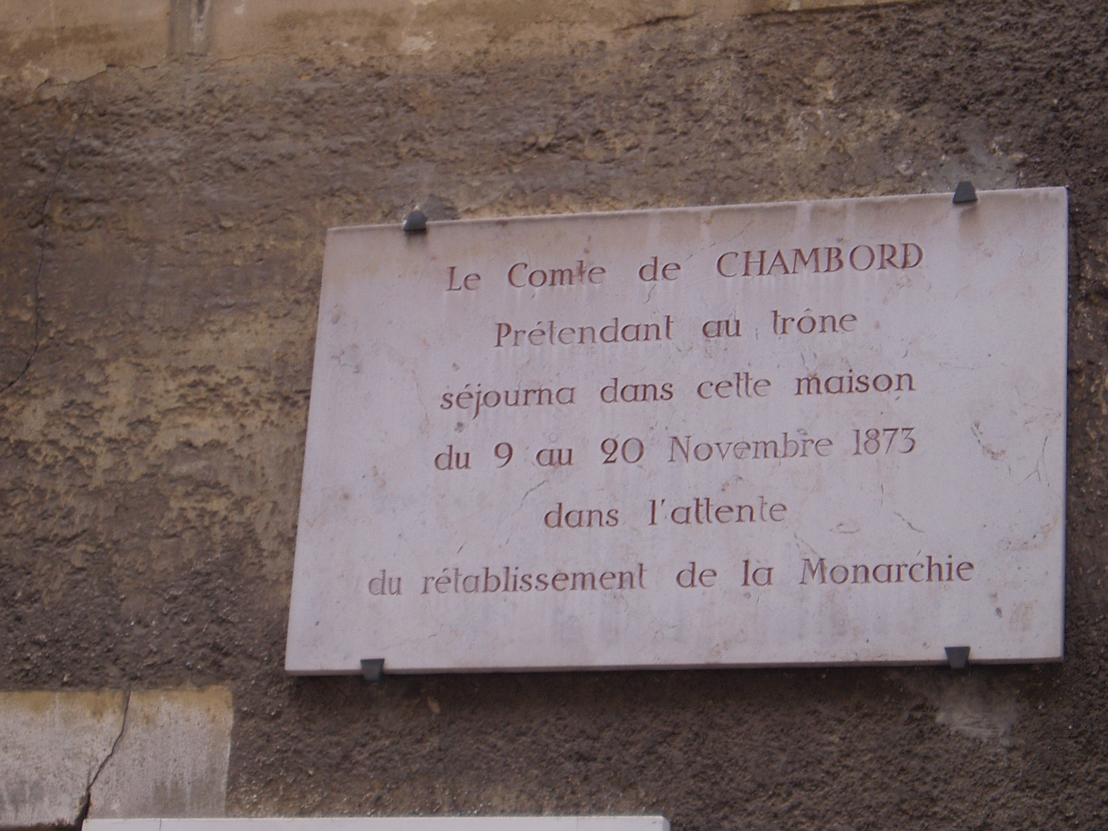Plaque souvenir du comte de Chambord