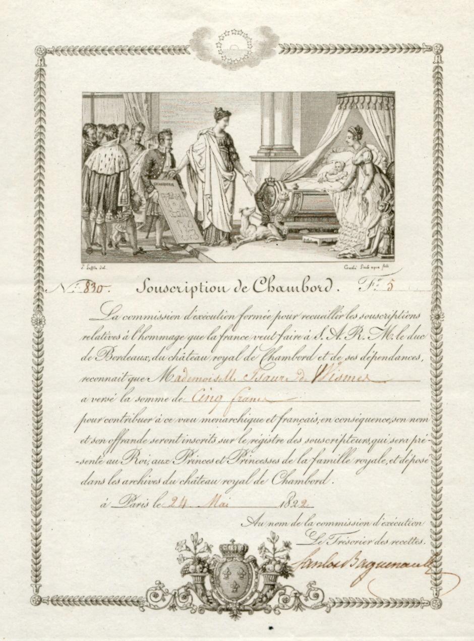 Souscription pour le comte de Chambord